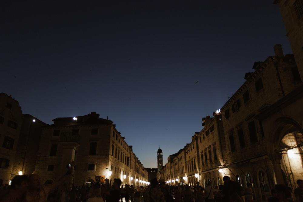 Croatian city Dubrovnik and it's main street Stradun